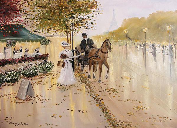 Paris Painting - Golden Outem by  Oksana Gnatyuk