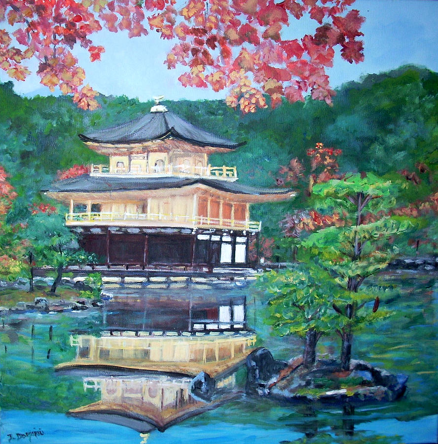 Landscape Painting - Golden Pavillion In Kyoto by Teresa Dominici