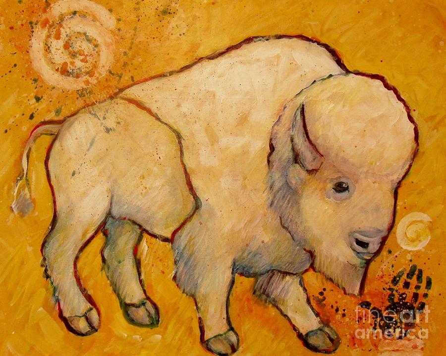 Golden Peace White Buffalo Painting