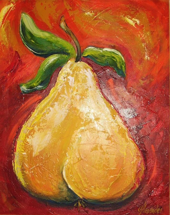 Pear Painting - Golden Pear On Red by Jill Alexander