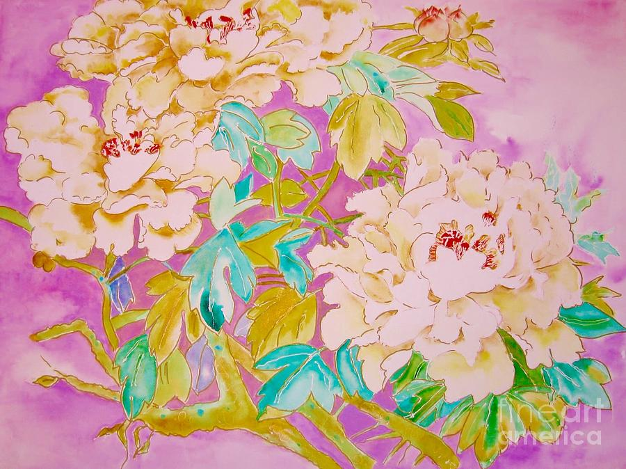 Peonies Painting - Golden Peonies by Krysia Gallien
