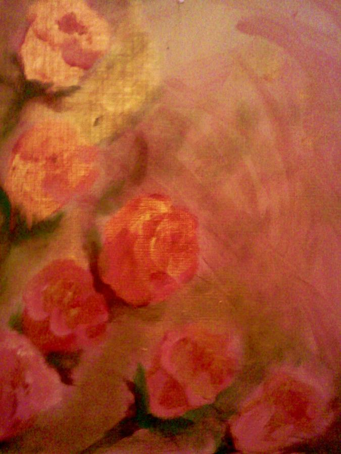 Golden Pink Roses Painting