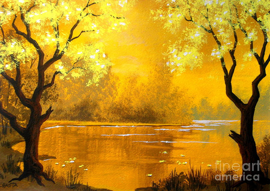 Landscape Painting - Golden   Pond by Shasta Eone
