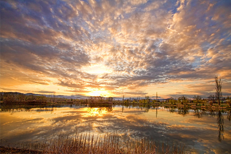 Clouds Photograph - Golden Ponds Scenic Sunset Reflections 2 by James BO  Insogna