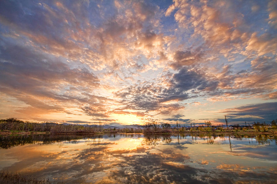 Clouds Photograph - Golden Ponds Scenic Sunset Reflections 3 by James BO  Insogna