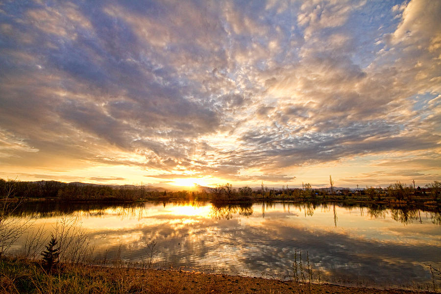 Clouds Photograph - Golden Ponds Scenic Sunset Reflections by James BO  Insogna