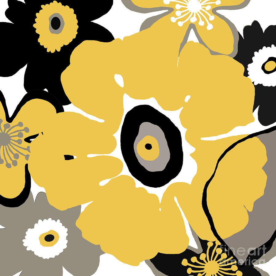 Floral Digital Art - Golden Pop Flower by Marilu Windvand