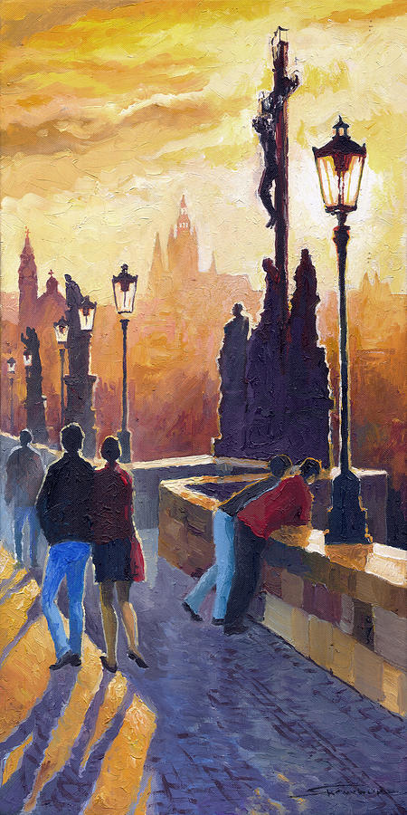 Oil On Canvas Painting - Golden Prague Charles Bridge by Yuriy Shevchuk