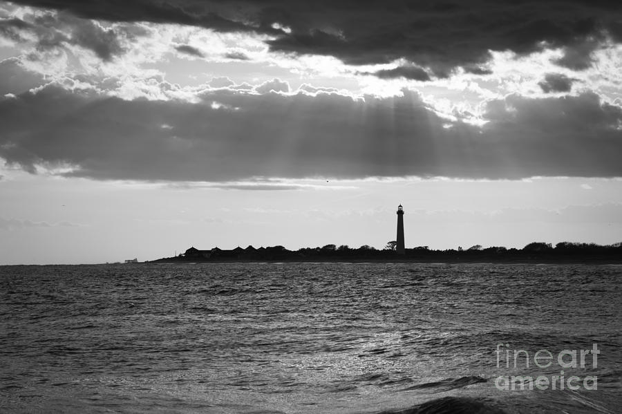 Cape May Photograph - Golden Rays At Cape May Bw by Michael Ver Sprill