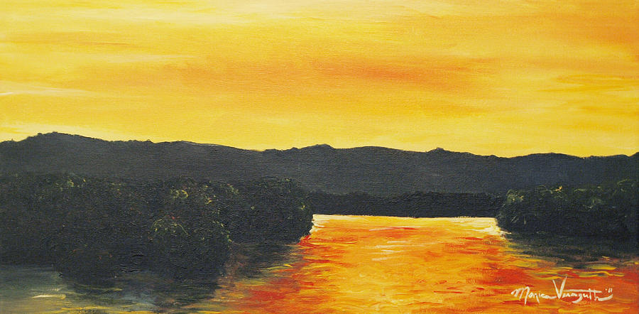Landscape Painting - Golden Reflections by Monica Veraguth