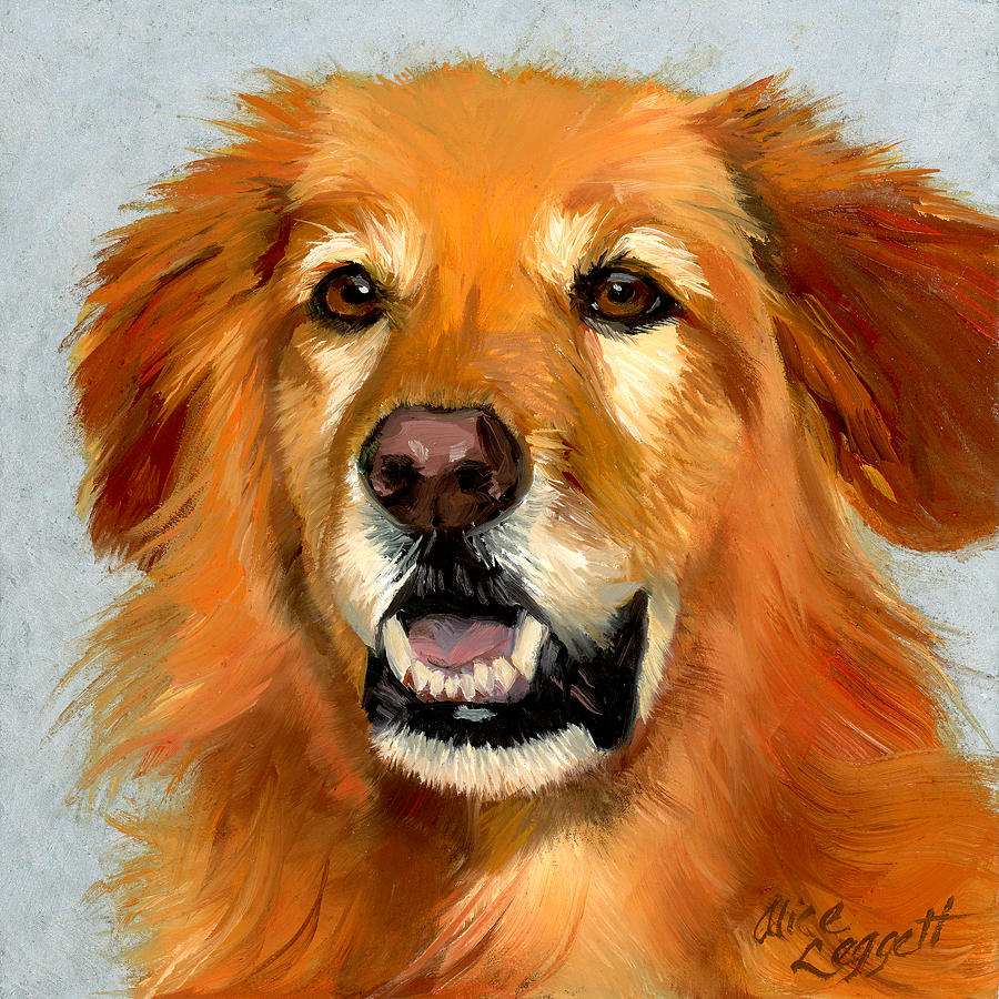 Golden retriever dog painting by alice leggett for Dog painting artist