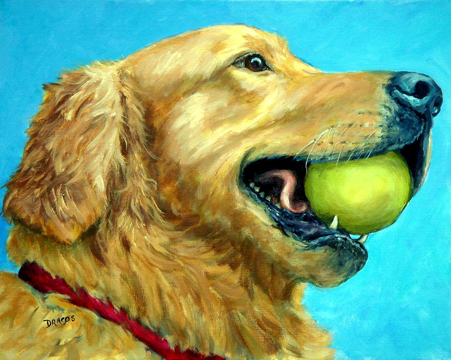 Golden Retriever Painting - Golden Retriever Profile With Tennis Ball by Dottie Dracos