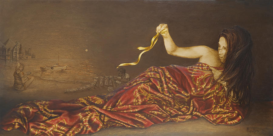 Gold Painting - Golden Ribbon  by Sobobak