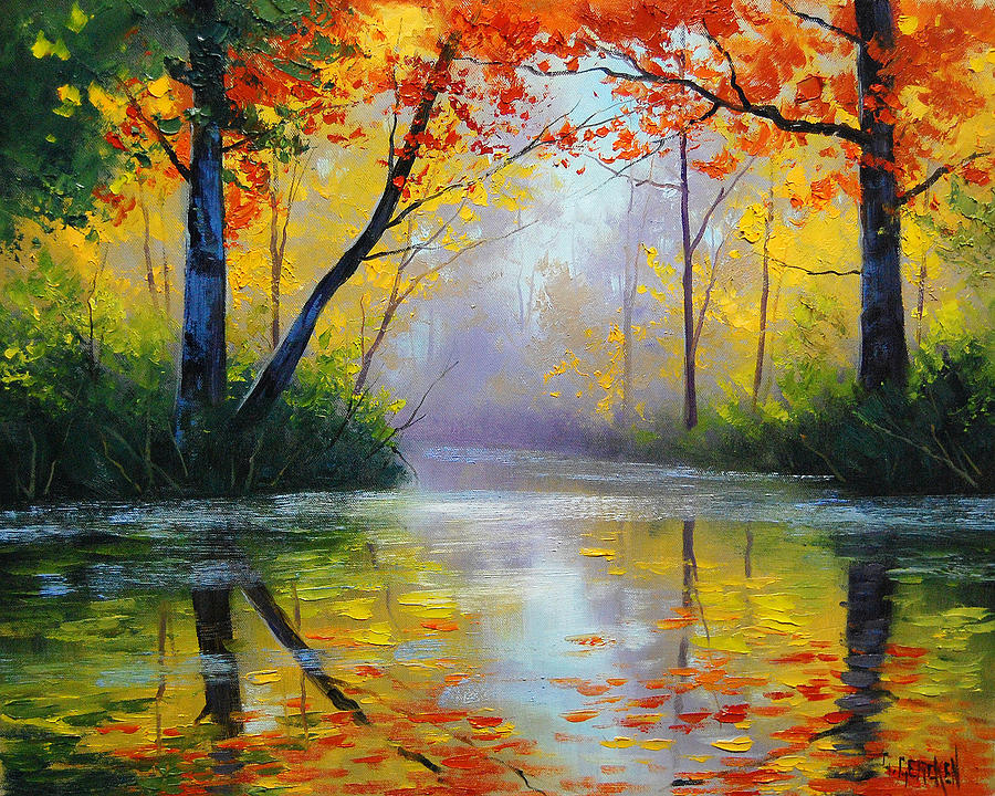 Fall Painting - Golden River by Graham Gercken