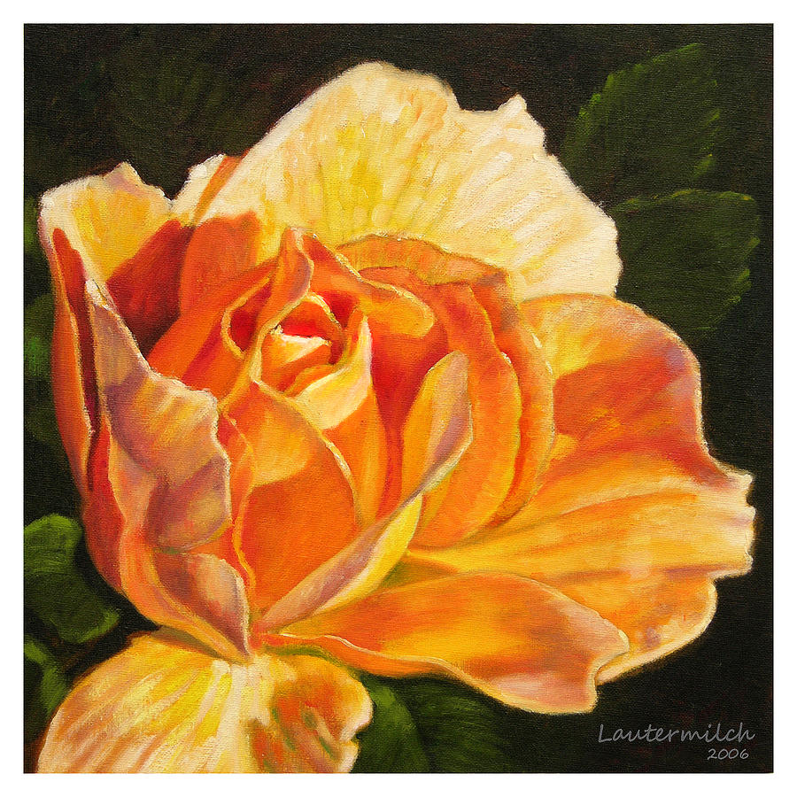 Rose Painting - Golden Rose Blossom by John Lautermilch