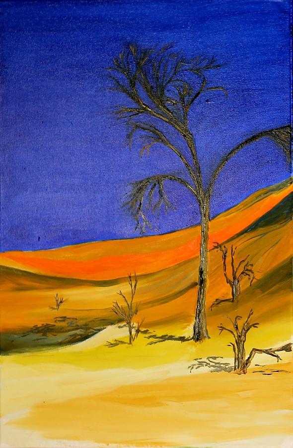 Sand Painting - Golden Sand Dune Left Panel by Richard Jules