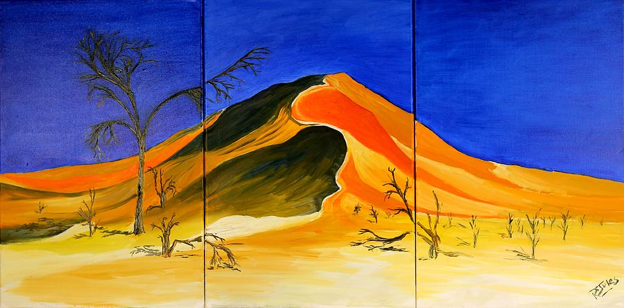 Sand Painting - Golden Sand Dune_triptych by Richard Jules