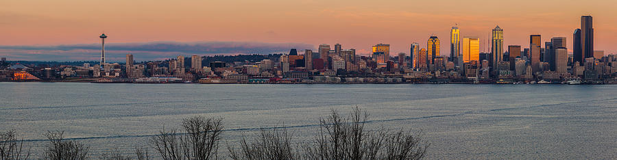 Seattle Photograph - Golden Seattle Skyline Sunset by Mike Reid
