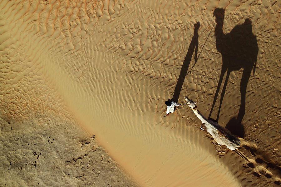 Desert Photograph - Golden Shadows by Shoayb Hesham Khattab