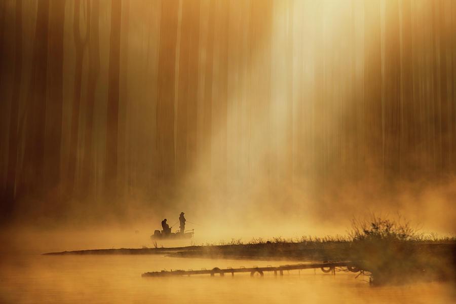 Fishing Photograph - Golden Silence by Takashi Suzuki