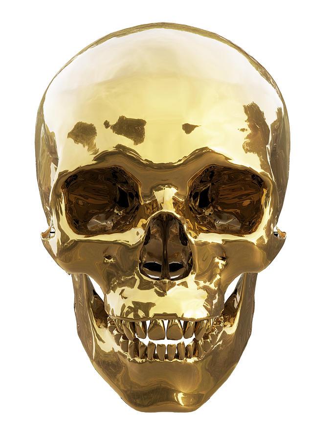 Old Digital Art - Golden Skull by Vitaliy Gladkiy