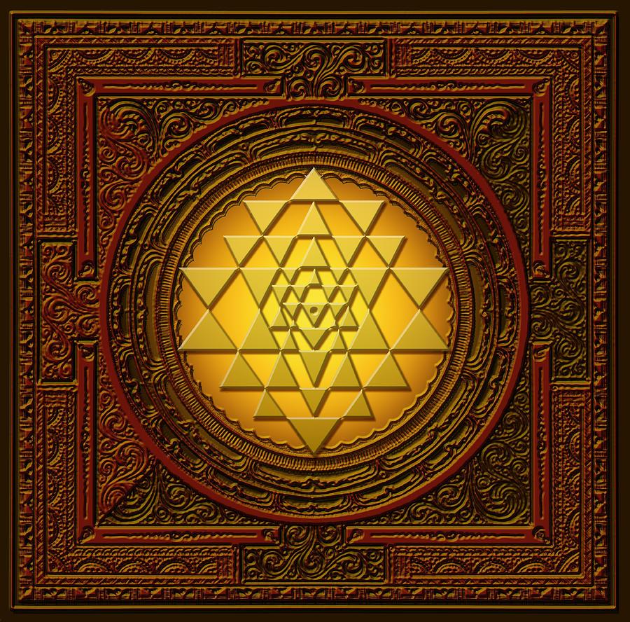 Mandala Digital Art - Golden  Sri Lakshmi Yantra by Lila Shravani