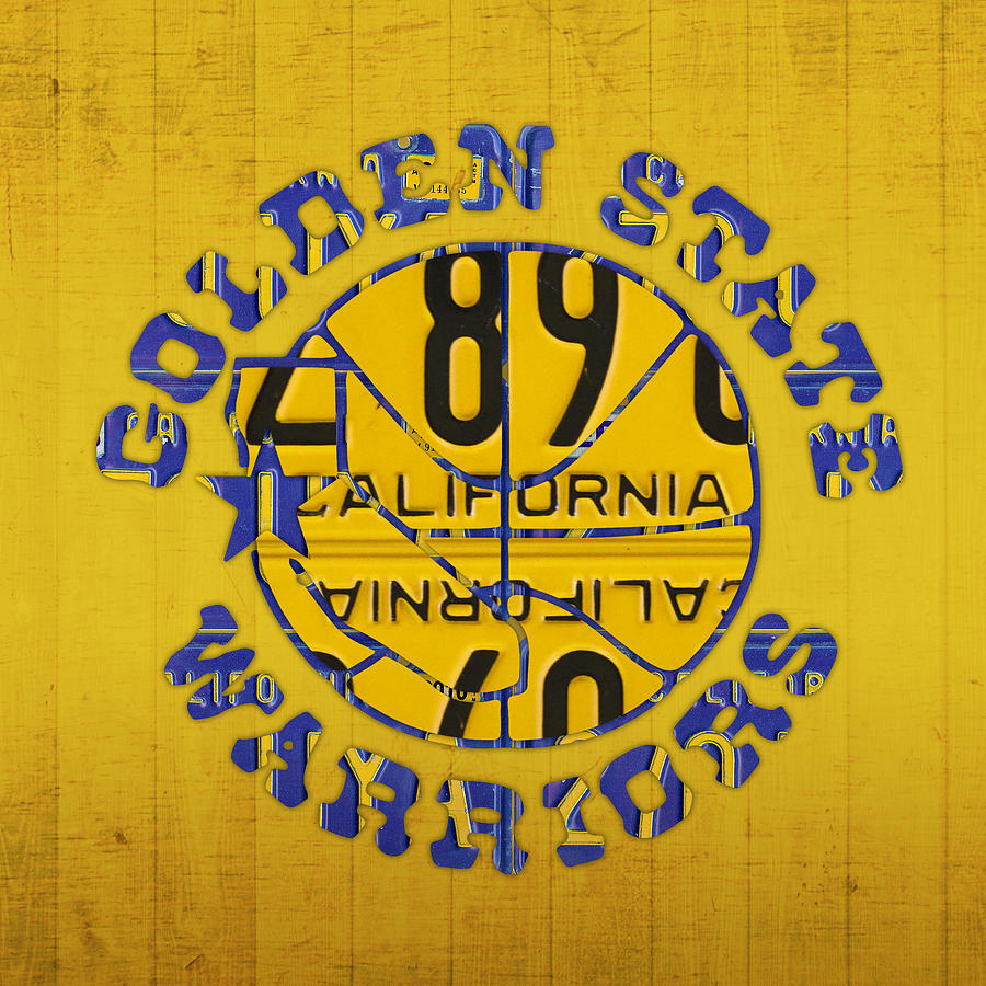 Golden State Mixed Media - Golden State Warriors Basketball Team Retro Logo Vintage Recycled California License Plate Art by Design Turnpike