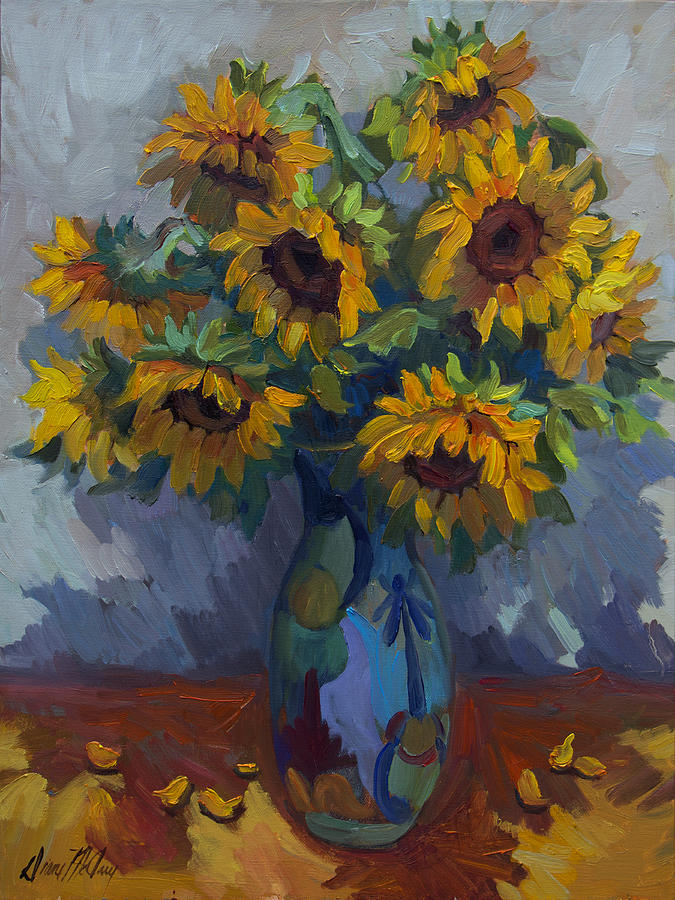 Sunflowers Painting - Golden Sunflowers by Diane McClary