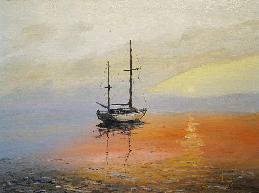 Sunset Painting - Golden Sunset by Alan Lakin