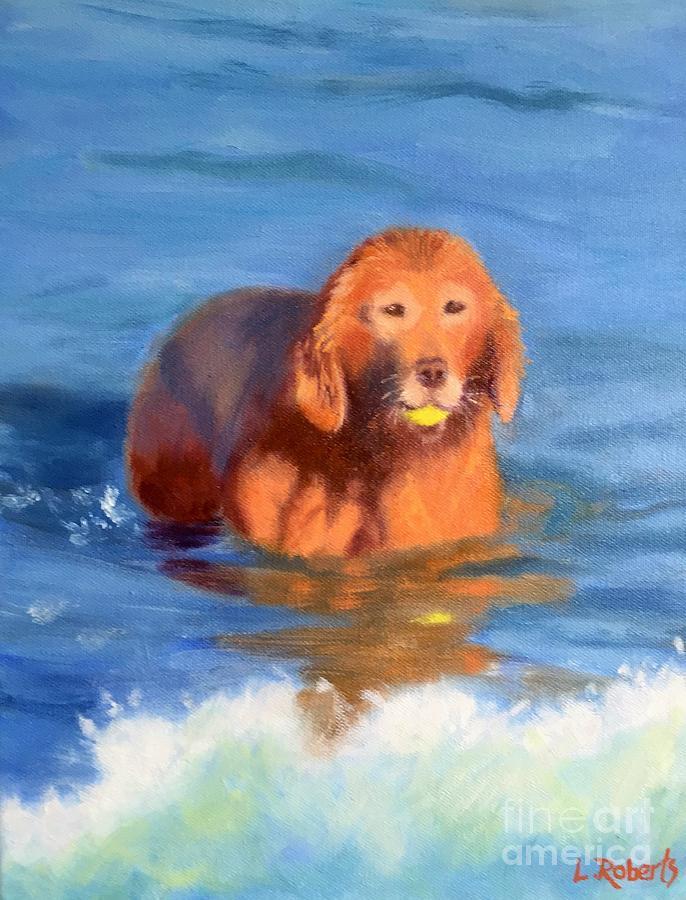 Golden Retriever Painting - Golden Sunset at Jetty Beach by Laura Roberts