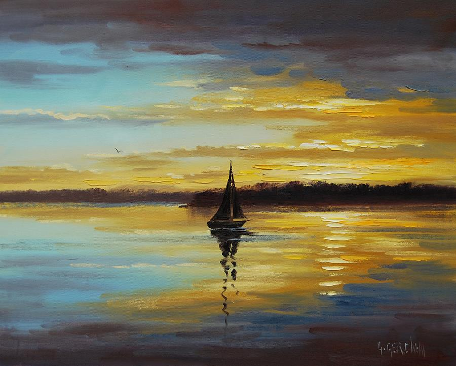Golden Sunset Painting by Graham Gercken | title | sunset painting