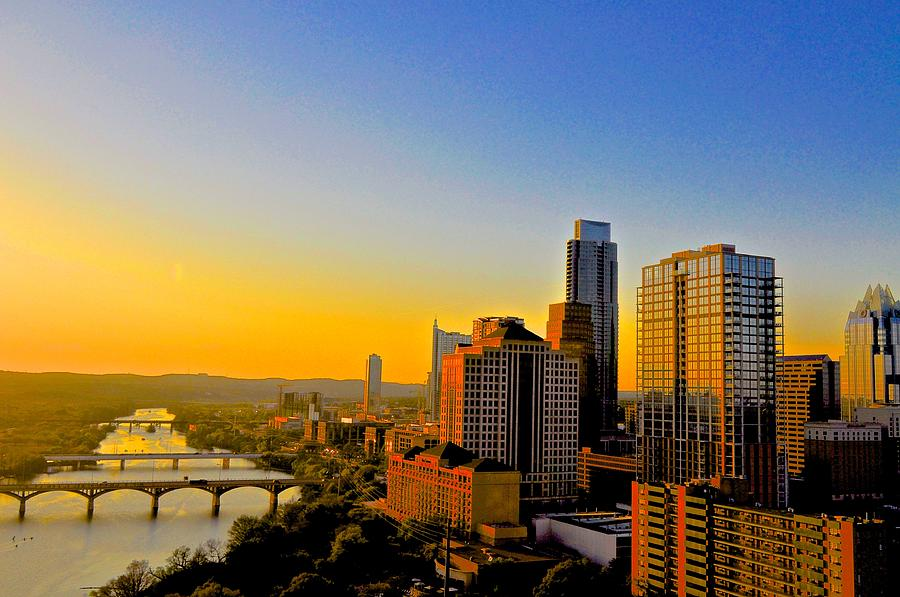 Downtown Austin Photograph - Golden Sunset In Austin Texas by Kristina Deane
