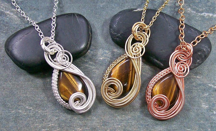 Stone Jewelry - Golden Tiger Eye Mini Swish Pendant by Heather Jordan