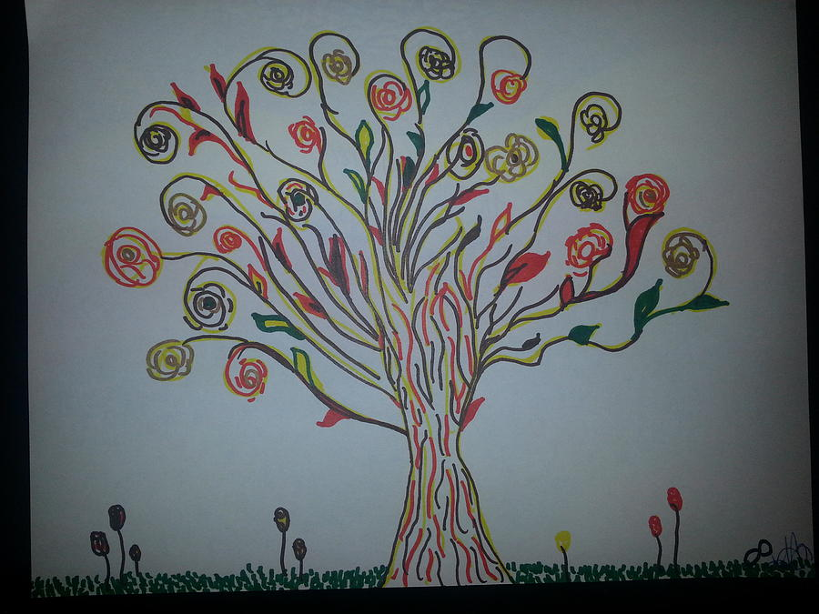 Golden Tree Drawing by Felicia Anguiano