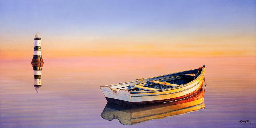 Boat Painting - Golden Twilight by Horacio Cardozo