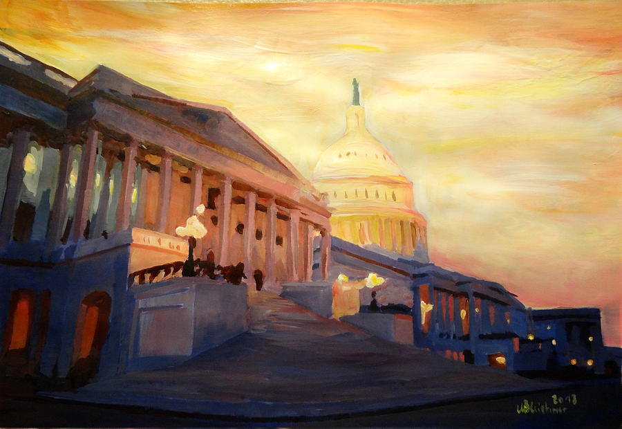 Washington Dc Painting - Golden United States Capitol In Washington D.c. by M Bleichner
