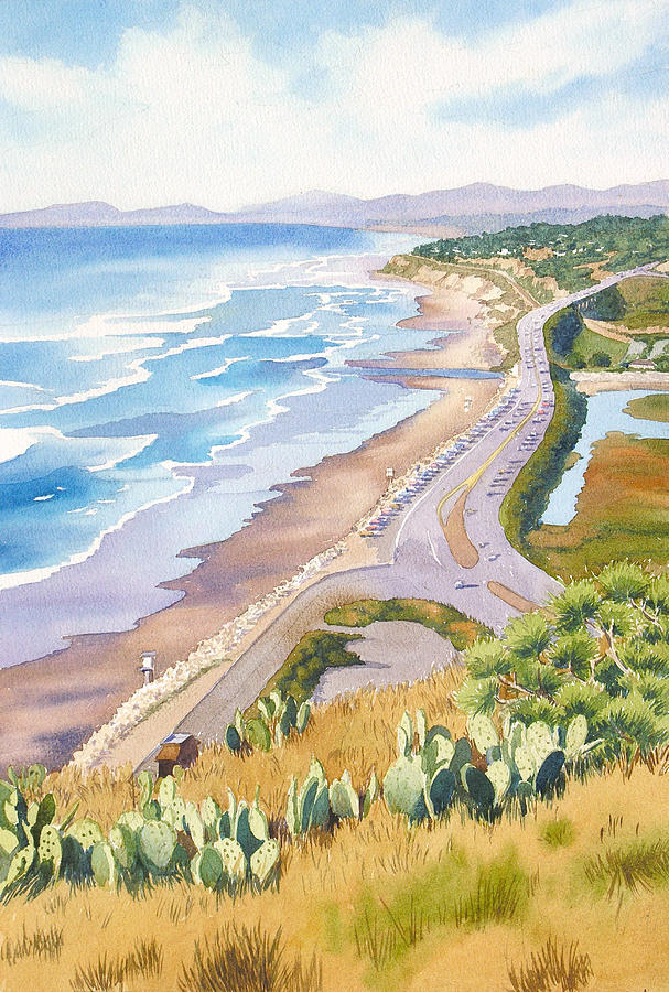 Pacific Coast Highway Painting - Golden View From Torrey Pines by Mary Helmreich