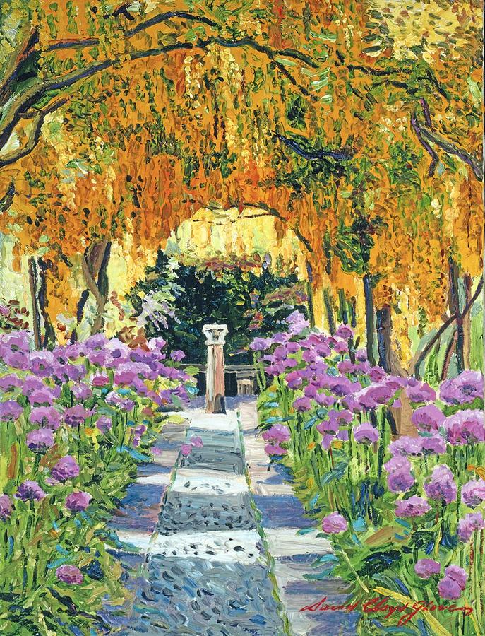 Gardenscape Painting - Golden Walk by David Lloyd Glover