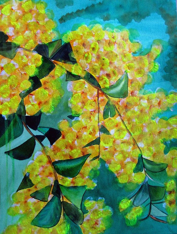 Wattle Painting - Golden Wattle by Sacha Grossel