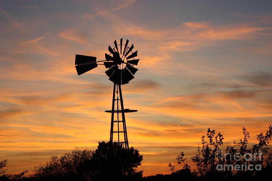 Windmill Photograph - Golden Windmill Silhouette by Robert D  Brozek