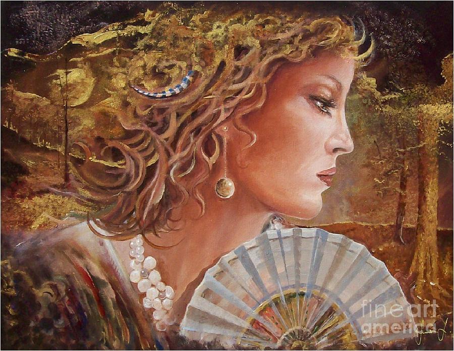 Female Portrait Painting - Golden Wood by Sinisa Saratlic