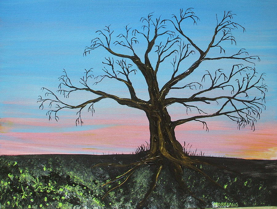 Ancient Tree Painting - Golden Years by Laura Moreland