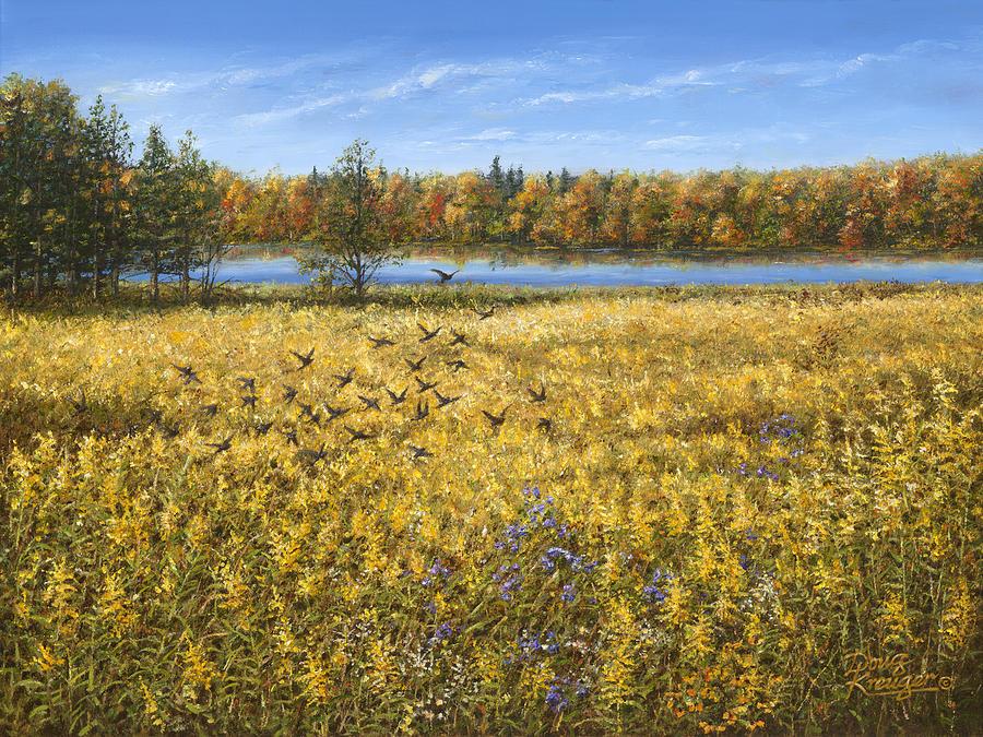 Blue Sky Painting - Goldenrod by Doug Kreuger