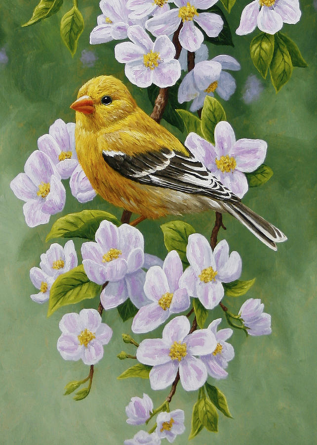 Bird Painting - Goldfinch Blossoms Greeting Card 2 by Crista Forest