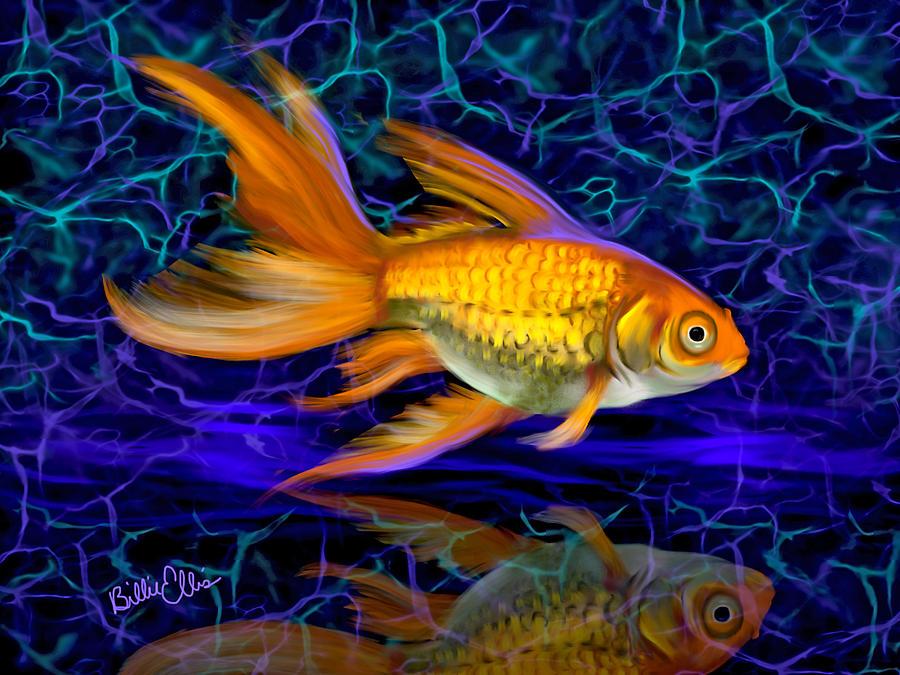 Gold Fish Digital Art - Goldfish Electric by Billie Jo Ellis