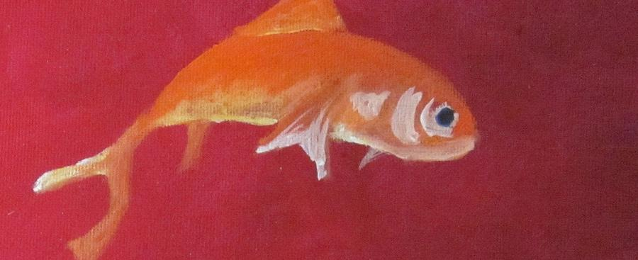 Orange Goldfish On A Red Background Painting - Goldfish On Red by Cherie Sexsmith