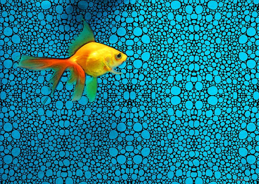 Goldfish Painting - Goldfish Study 3 - Stone Rockd Art By Sharon Cummings by Sharon Cummings