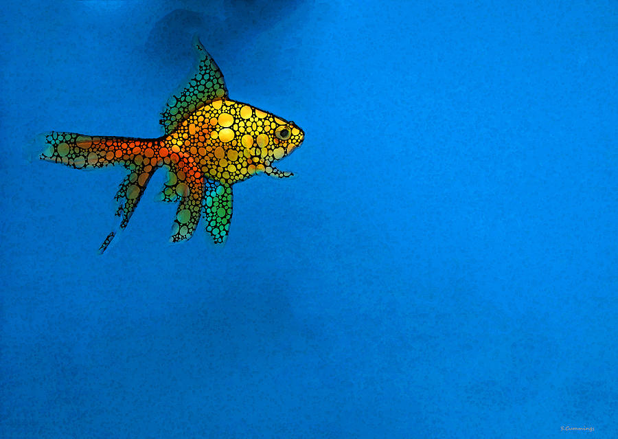 Goldfish Painting - Goldfish Study 4 - Stone Rockd Art By Sharon Cummings by Sharon Cummings