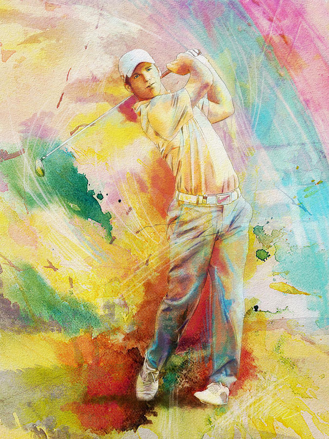Sports Painting - Golf Action 01 by Catf