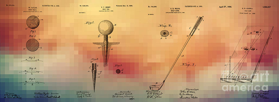 Golf Art Patents Ball Tee Club Game Digital Art